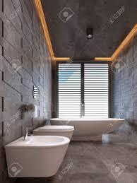 100 Contemporary Ceilings Bathroom In Dark Tones With Ceiling Lighting 3D