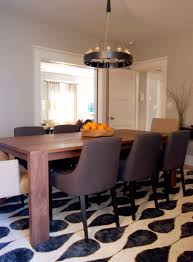 Stylish Dining Table On Rug Room Excellent Minimalist