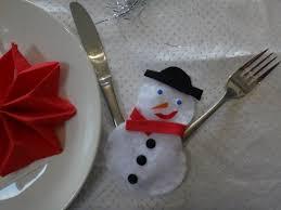 noël déco de table porte couvert bonhomme de neige