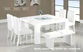 For Sale Dining Table And Chairs Contemporary White Wood Middle Frosted Glass Set