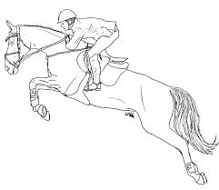 Horse Jumping Lineart By Wildpathz On DeviantArt Thoroughbred Jumper Coloring Page