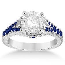 Antique Art Deco Blue Sapphire Engagement Ring 14k White Gold 033ct