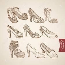 Engraving Vintage Hand Drawn Sandals Shoes On Heels Doodle Collage Pencil Sketch Retro Fashion Illustration