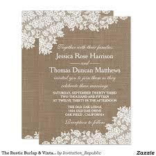 The Rustic Burlap Vintage White Lace Collection Wedding InvitationsZazzle