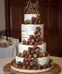 Birchbark Strawberry Wedding Cake