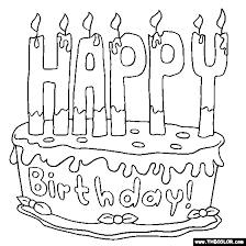 Happy Birthday Cake 2 line Coloring Page