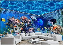 großhandel 3d wallpaer benutzerdefinierte mural foto ozean hai delphin aquarium volles haus hintergrund wand wohnkultur wohnzimmer tapete für wände 3