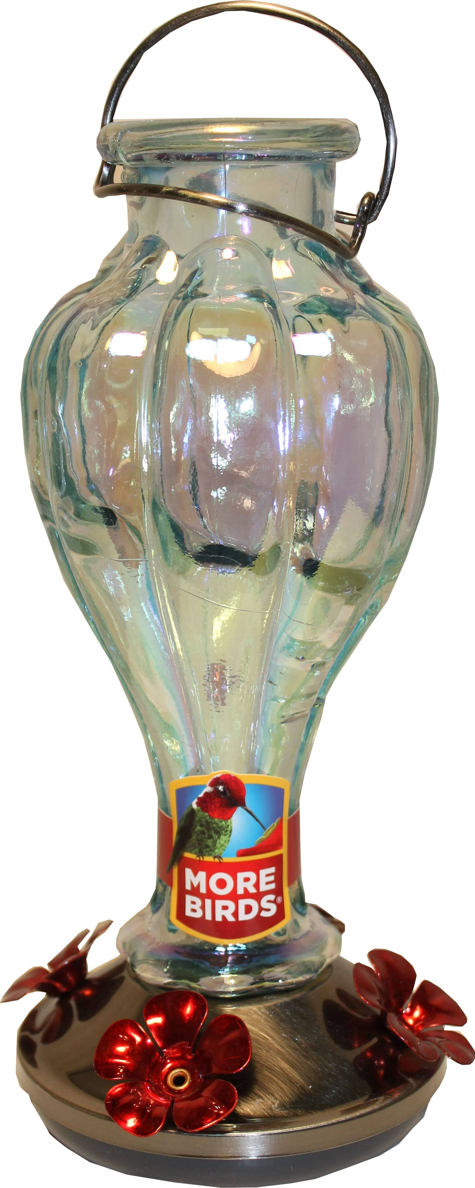 Classic Brands Glass Hummingbird Rainbow Blossom Bird Feeder