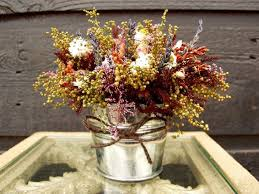 Wedding Centerpiece Table Arrangement Primitive Country Tin Bucket With Fragrant Rustic Rose Dried Flower 072