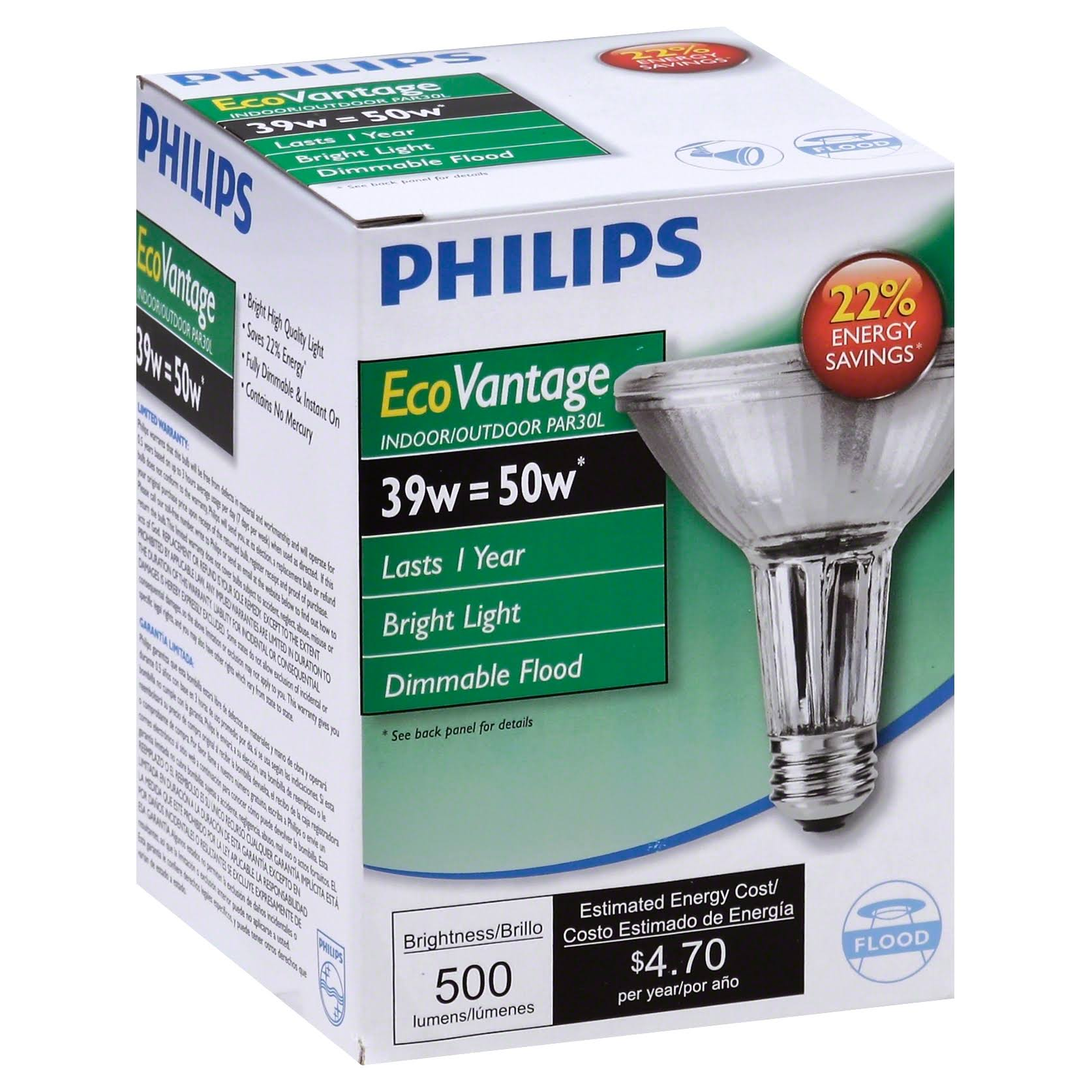 Philips Equivalent PAR30L Indoor and Outdoor Floodlight Bulb - 50W, Halogen, Dimmable