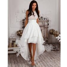 Hi Lo Satin Wedding Dress Summer Short Bridal Gown Custom Size 8 10