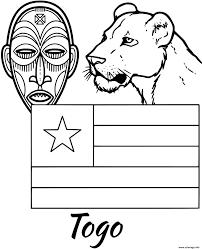 Coloriage Togo Drapeau Tribal Mask JeColoriecom