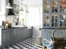 Kitchen Cabinets Design Ikea Interior Admirable Decoration Idea With Gray Cabinet White Pendant Lights And Black Plaid Floor Tile