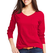hanes women u0027s v neck long sleeve pocket t shirt walmart com