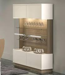 Modern Display Cabinet Evolution In Shiny Ivory Finish With Walnut Effect Glass