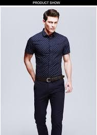 new fashion casual men shirt short sleeve polka dot slim fit shirt