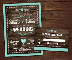 10 Country Rustic Wedding Invitations With RSVP Barn Wood Invitation Any Color Envelopes Included