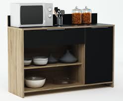 meuble de cuisine noir meuble de rangement de cuisine chêne brut noir miky soldes cuisine