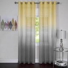 semi sheer ombre grommet curtain panel 52x63 grey yellow