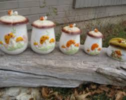 1970s Mushroom 4 Piece Ceramic Canister Set With Napkin Holder Retro 70s Kitchen Decor