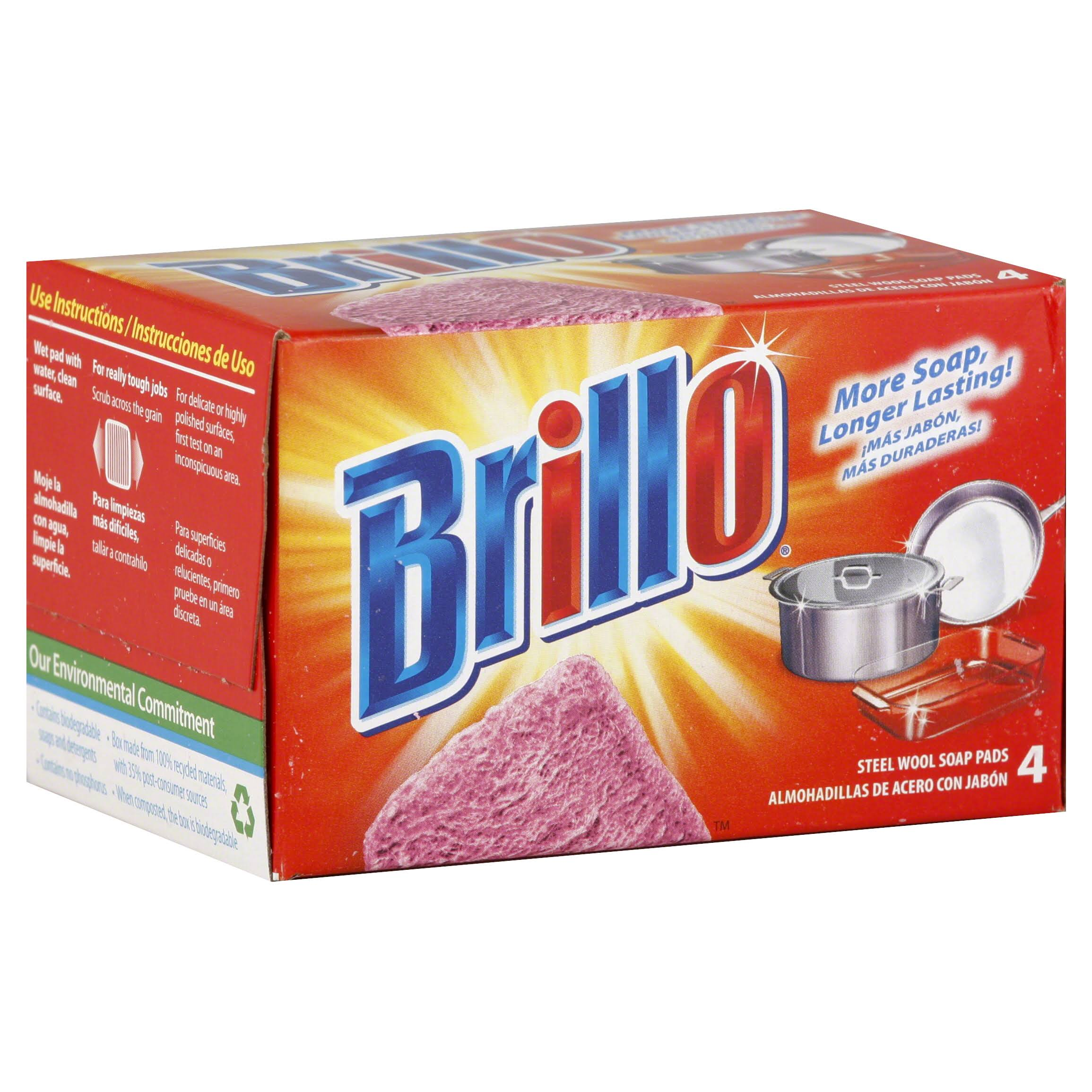 Brillo Steel Wool Soap Pads - Red, 4 ct