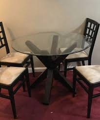 42 Round Glass Dining Table With Wooden Base For Sale In Queens NY
