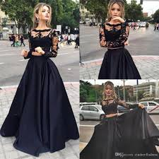 black two pieces long illusion sleeves prom dresses 2017