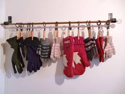 Spring Loaded Curtain Rods Ikea by I Use An Old Curtain Rod And Clothes Pins To Hang Gloves This