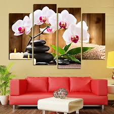 4 Pcs No Frame Pink Flowers Wall Art Picture Modern Home Decoration Living Room