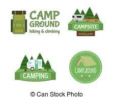 Outdoor Activity Tourism Travel Logo Vintage Labels Design Template RV Forest Holiday Park