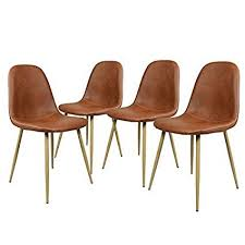 GreenForest Dining Side Chairs Washable Pu Cushion Seat Metal Legs For Room Set Of
