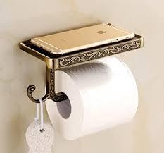 toilettenpapierhalter messing wand montiert badezimmer papier tissue rollenhalter mit handy ablage und haken vintage decor stil