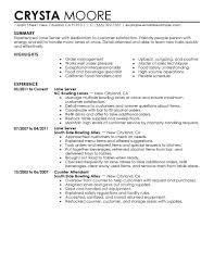 Server Resume Sample
