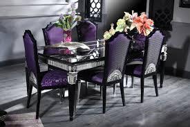 casa padrino luxus barock esszimmer set lila schwarz silber esstisch und 6 esszimmerstühle esszimmermöbel im barockstil