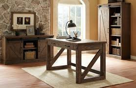 photo of rustic oak home office furniture oak home office