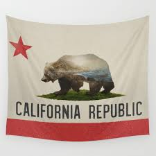 California Grizzly Bear Flag Wall Tapestry By Daviesbabies