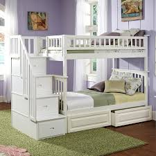 shop atlantic furniture columbia white twin over twin bunk bed at