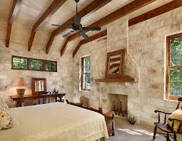 Rustic Modern Bedroom With Exposed Wooden Beams And Stone Mortar Wall Design Northworks