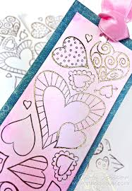 Watercolored Valentine Heart Bookmark With Gold Foil Added Printable From Carlaschauer