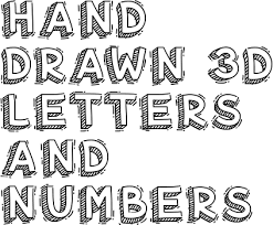 Hand Drawn 3D Letters and Numbers Creative Fabrica