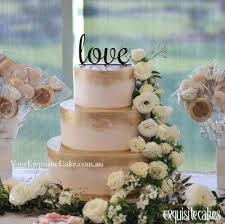 3 Tier Gold Painted Love Cake