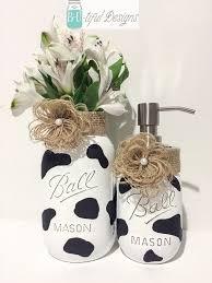 Cow Kitchen Decor Hand Painted Mason Jar Vase And Soap Dispenser
