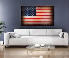 SALE USA Flag On Frame Rustic Digital Printed Canvas Old American Art Vintage Home Decor With FRAME