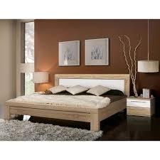 chambre chene blanchi julietta lit adulte coloris chêne blanc 160x200 cm achat vente
