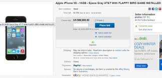 Used iPhone 5s with Flappy Bird installed going for $100 000 on