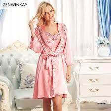 2017 spring summer long satin nightgowns for women nightwear robe
