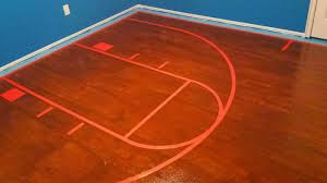 Basketball Court Lines On Painted Plywood Floor