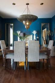 Wall Color Idea The Dark Blue Colour Changes For Peacock In Day To Indigo At Night Also Like 2 Mirrors And Moroccan Chandelier