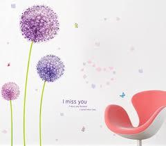 decalmile wandtattoo lila pusteblume wandsticker hortensie