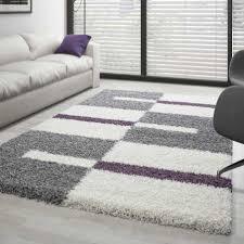 hochflor langflor wohnzimmer shaggy teppich florhöhe 3cm grau weiss lila